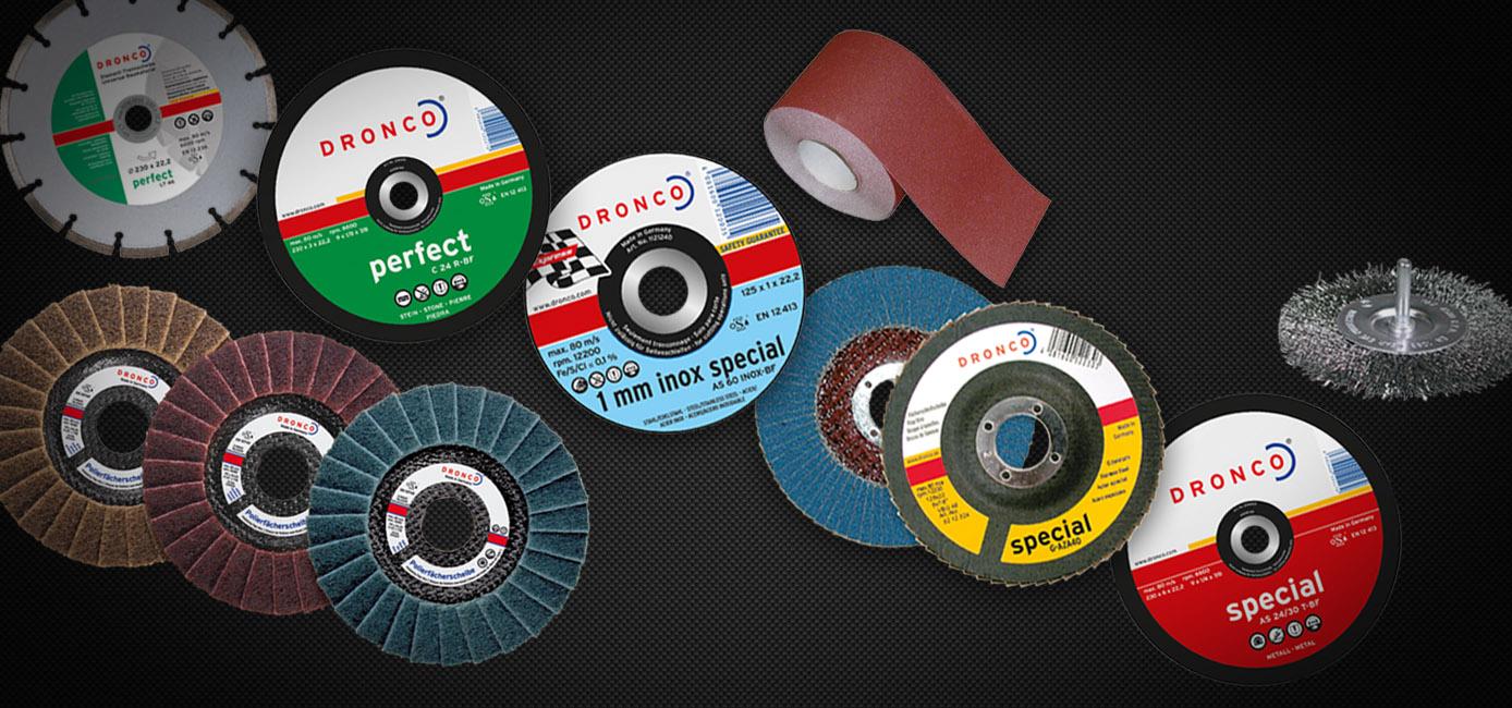 Gama completa de discos abrasivos DRONCO. Representação Exclusiva.